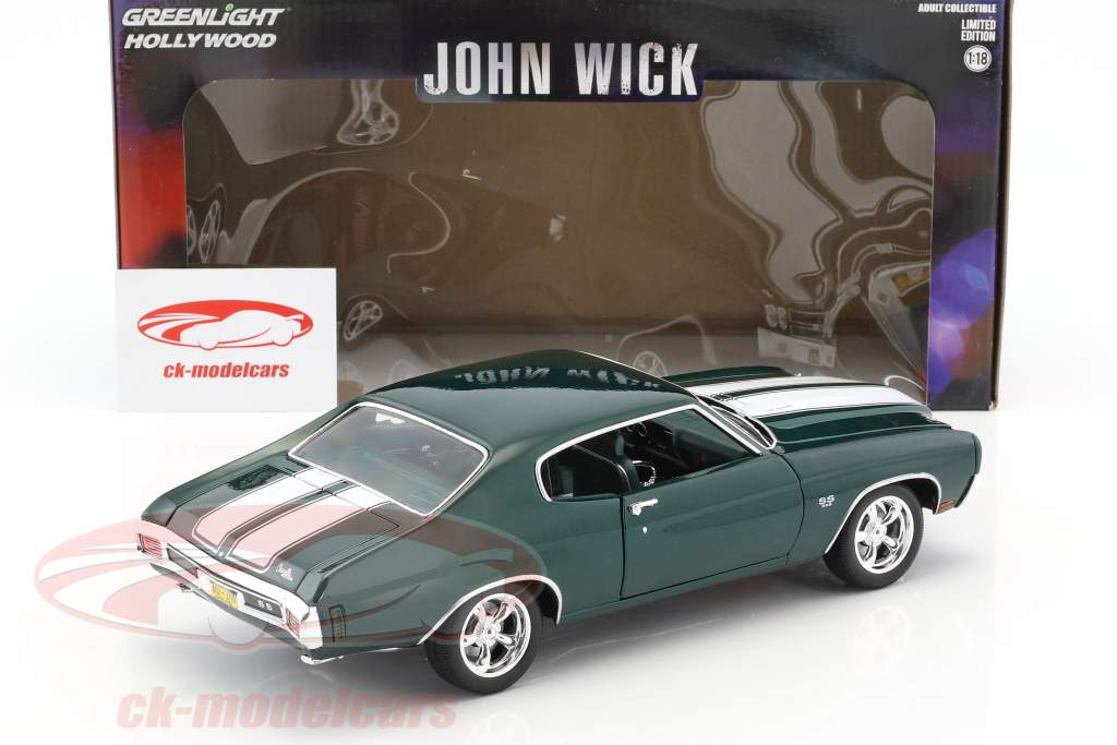 Chevrolet Chevelle SS 396 année de construction 1970 film John Wick (2014) vert foncé métallique 1:18 Greenlight