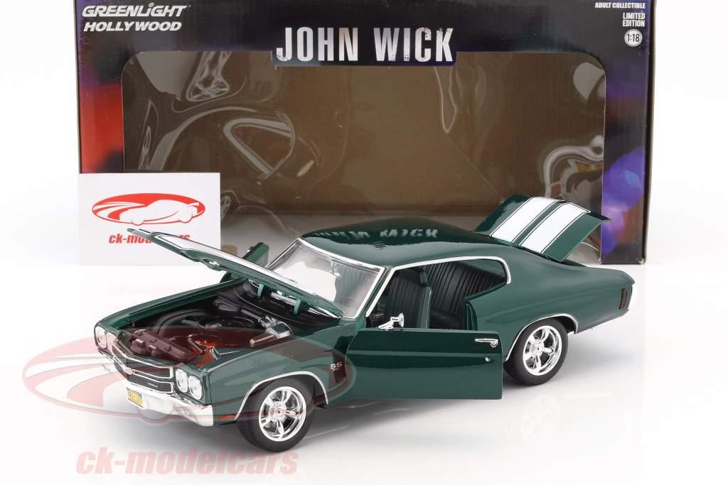 Chevrolet Chevelle SS 396 Baujahr 1970 Film John Wick (2014) dunkelgrün metallic 1:18 Greenlight