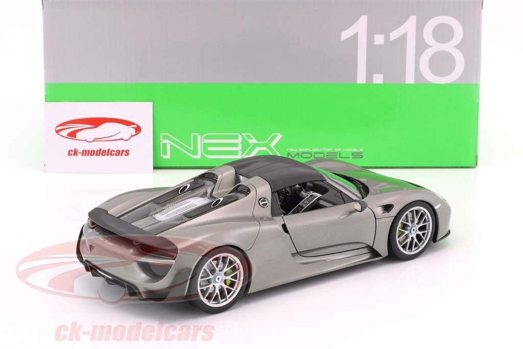 Porsche 918 Spyder cabriolet Closed Top gris métallique 1:18 Welly