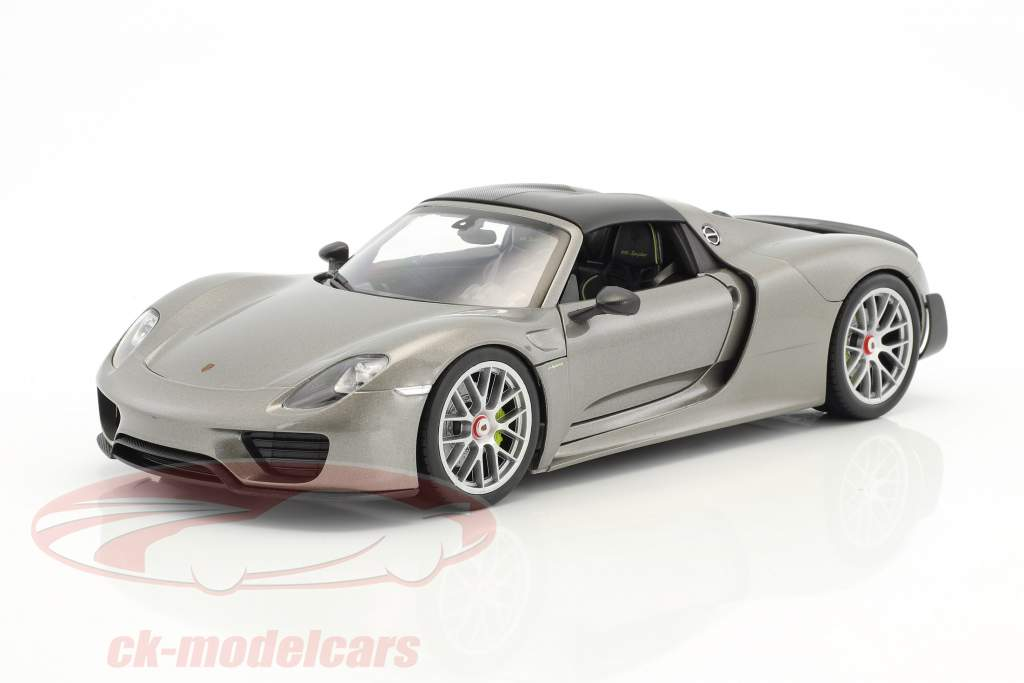 Porsche 918 Spyder Cabriolet Closed Top Gray metallic 1:18 Welly