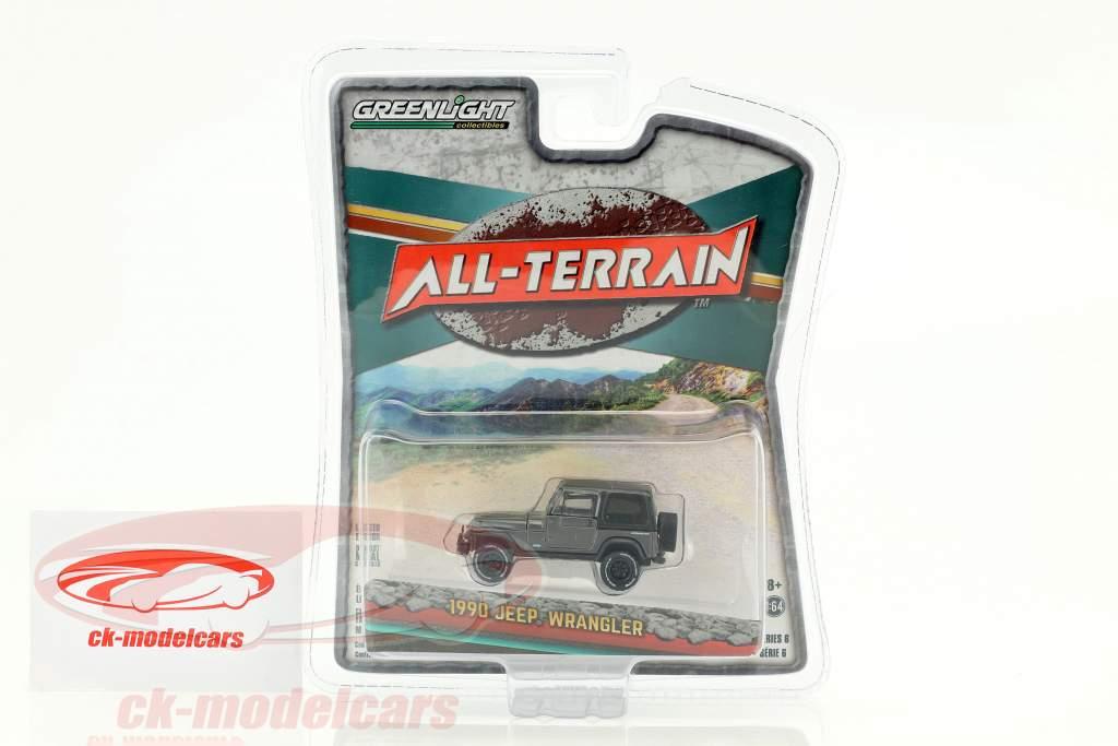 Jeep Wrangler All-Terrain year 1990 dark gray metallic / black 1:64 Greenlight