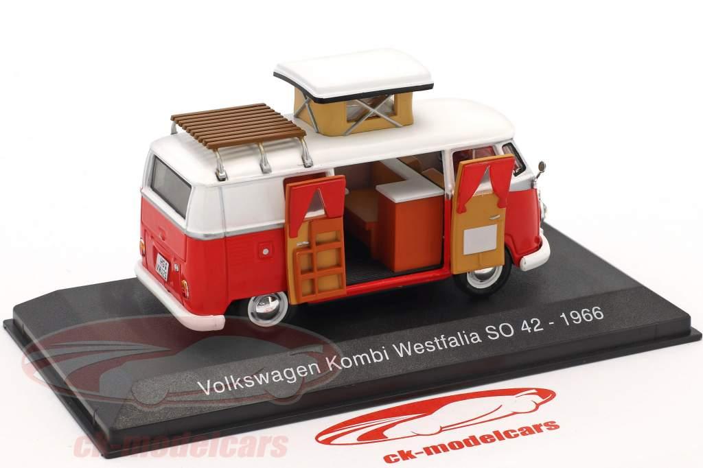 Volkswagen VW T1 Kombi Westfalia camper SO 42 year 1966 red / white 1:43 Atlas