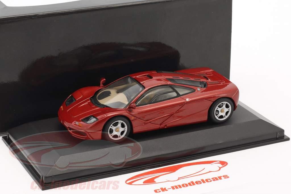 McLaren F1 Roadcar rosso metallico 1:43 Minichamps falso sovrimballaggio