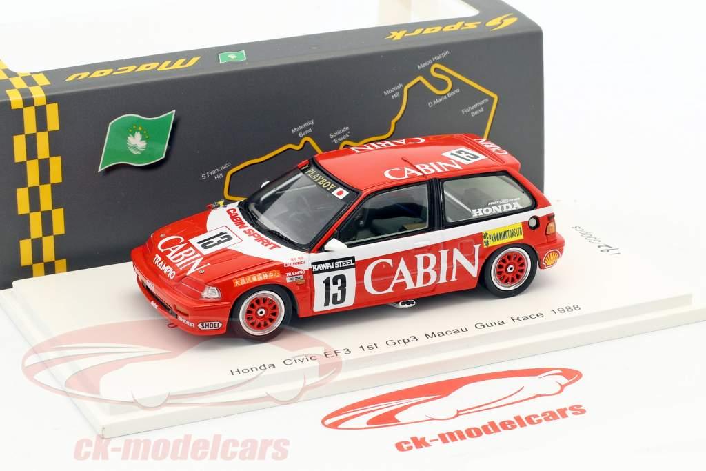 Honda Civic EF #13 gagnant Gr.C Macau Guia Race 1988 Kazuo Shimizu 1:43 Spark
