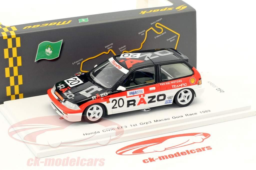 Honda Civic EF3 #20 Winner Gr.C Macau Guia Race 1989 Tomohiko Tsutsumi 1:43 Spark