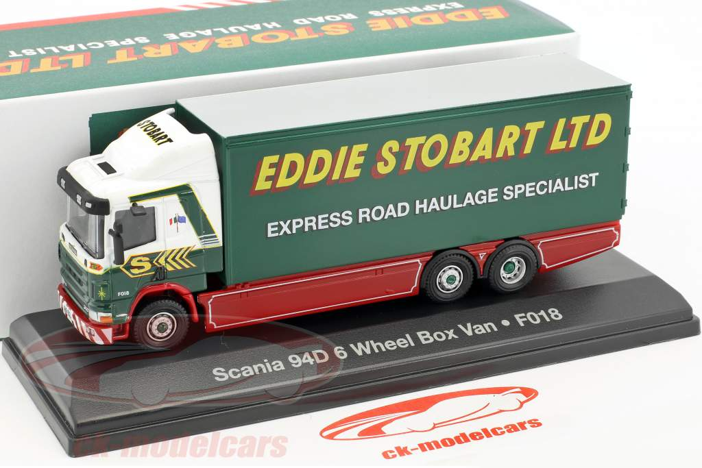 Scania 94D 6-Wheel Box Van F018 Stobart green / White 1:76 Atlas