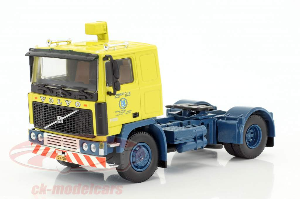 Volvo F10 Container semitrailer TV series Auf Achse (1977-1996) yellow / blue / silver 1:50 Herpa