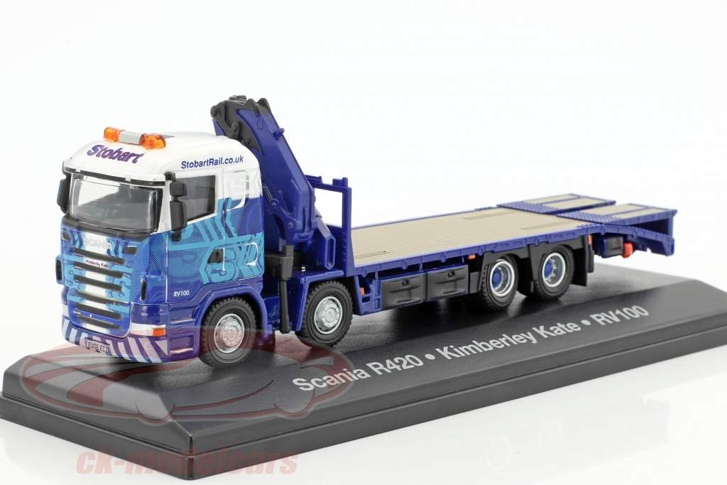 Scania Highline R420 Kimberley Kate RV100 Stobart bleu / blanc 1:76 Atlas