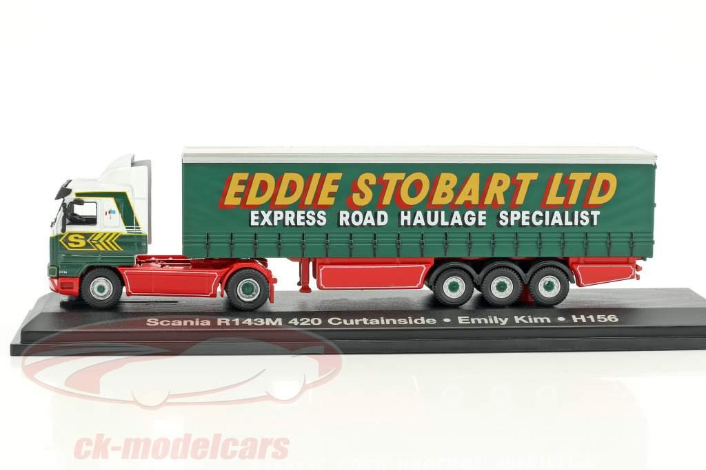 Scania R143M 420 Curtainside Emily Kim H156 Stobart green / White 1:76 Atlas