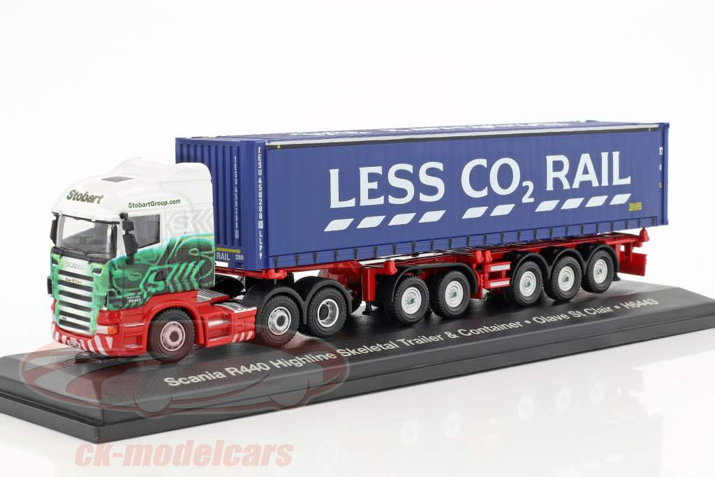 Scania R440 Highline Skeletal Trailer & Container H6443 Stobart blue / white 1:76 Atlas