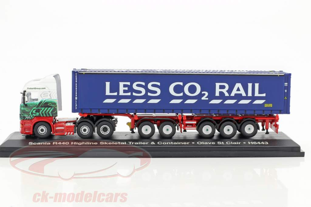 Scania R440 Highline Skeletal Trailer & Container H6443 Stobart bleu / blanc 1:76 Atlas
