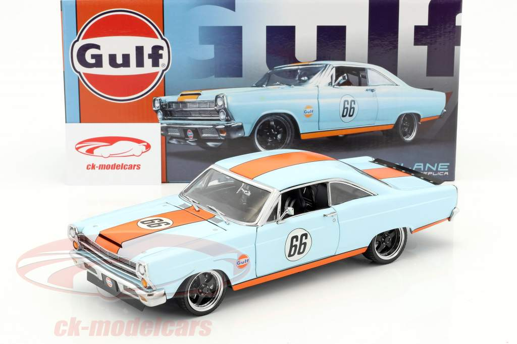 Ford Fairlane #66 Gulf Oil année de construction 1966 bleu clair / orange 1:18 GMP