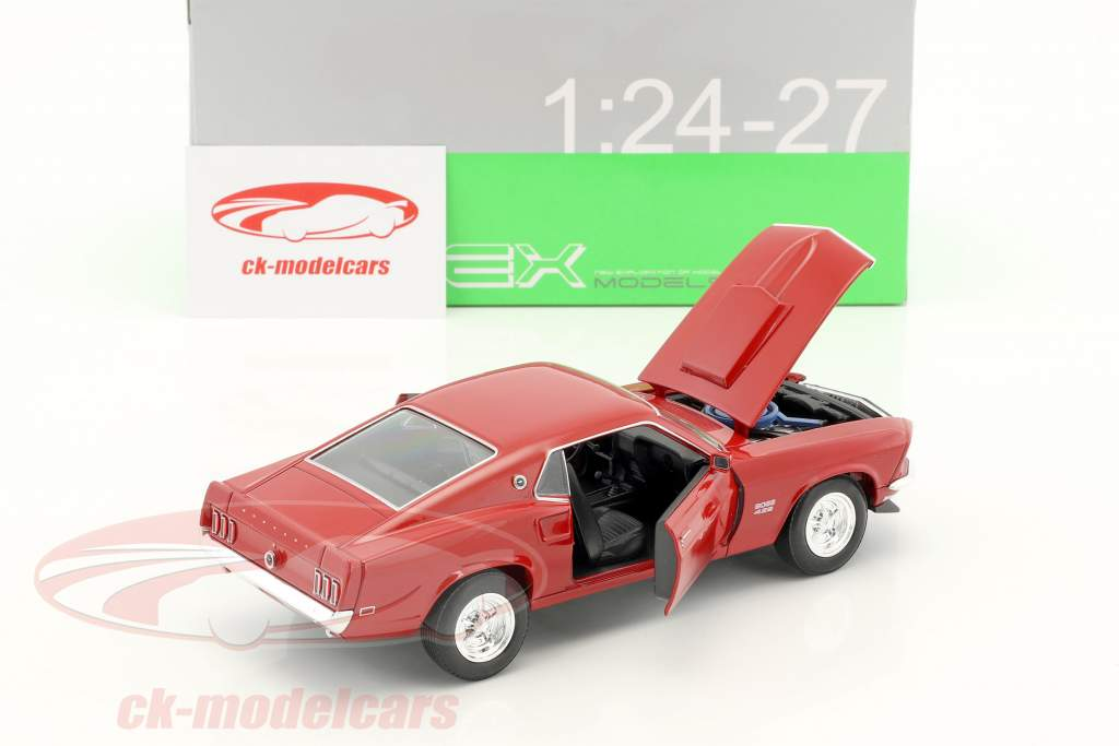 Ford Mustang Boss 429 year 1970 dark red 1:24 Welly