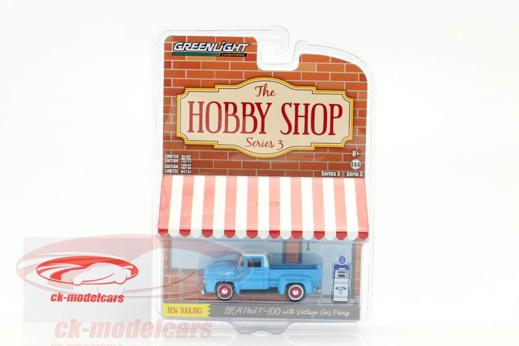 Ford F-100 year 1954 Light Blue / white with Ford gas pump 1:64 Greenlight