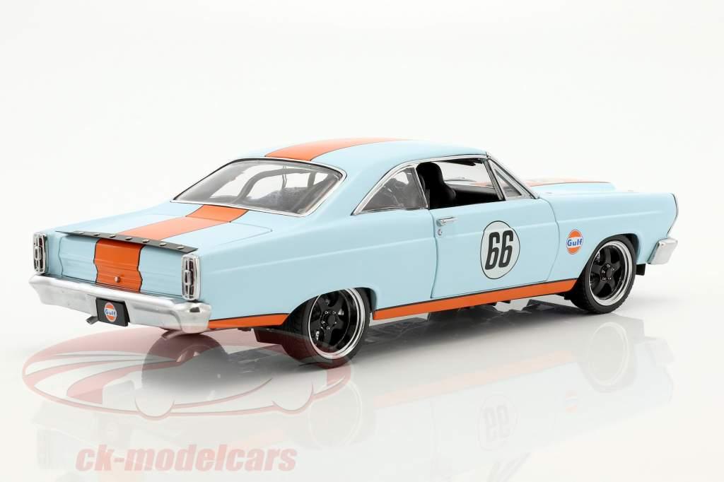 Ford Fairlane #66 Gulf Oil year 1966 light blue / orange 1:18 GMP