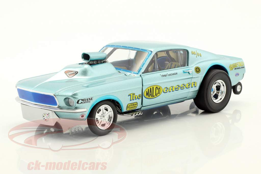 Ford Mustang Dragster Malco Gasser year 1967 Ohio George Montgomery light blue 1:18 GMP