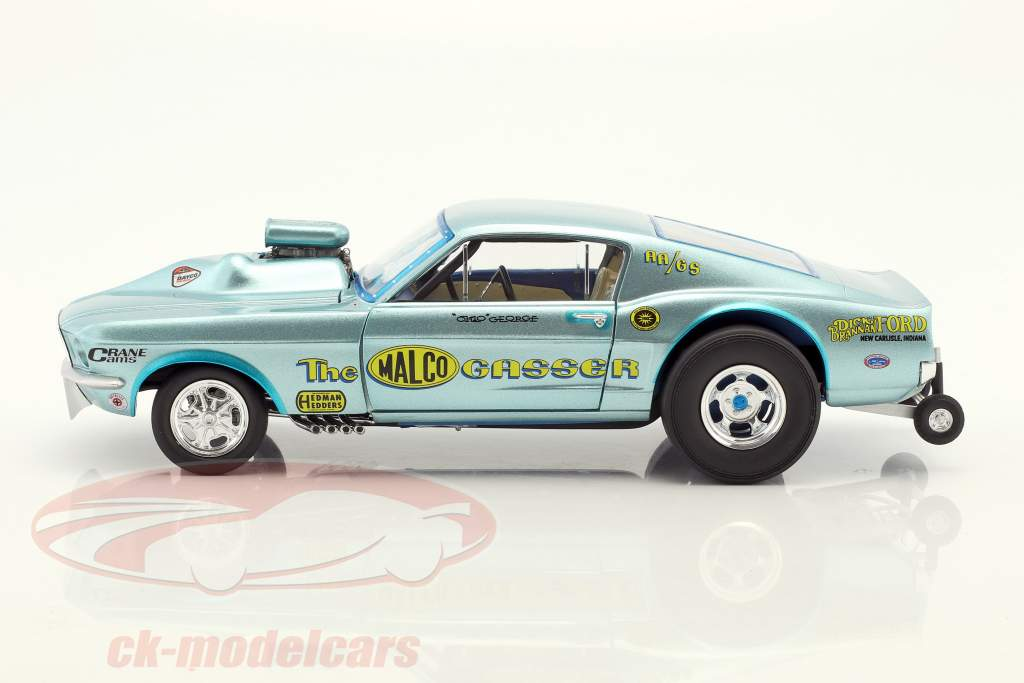 Ford Mustang Dragster Malco Gasser Baujahr 1967 Ohio George Montgomery hellblau 1:18 GMP