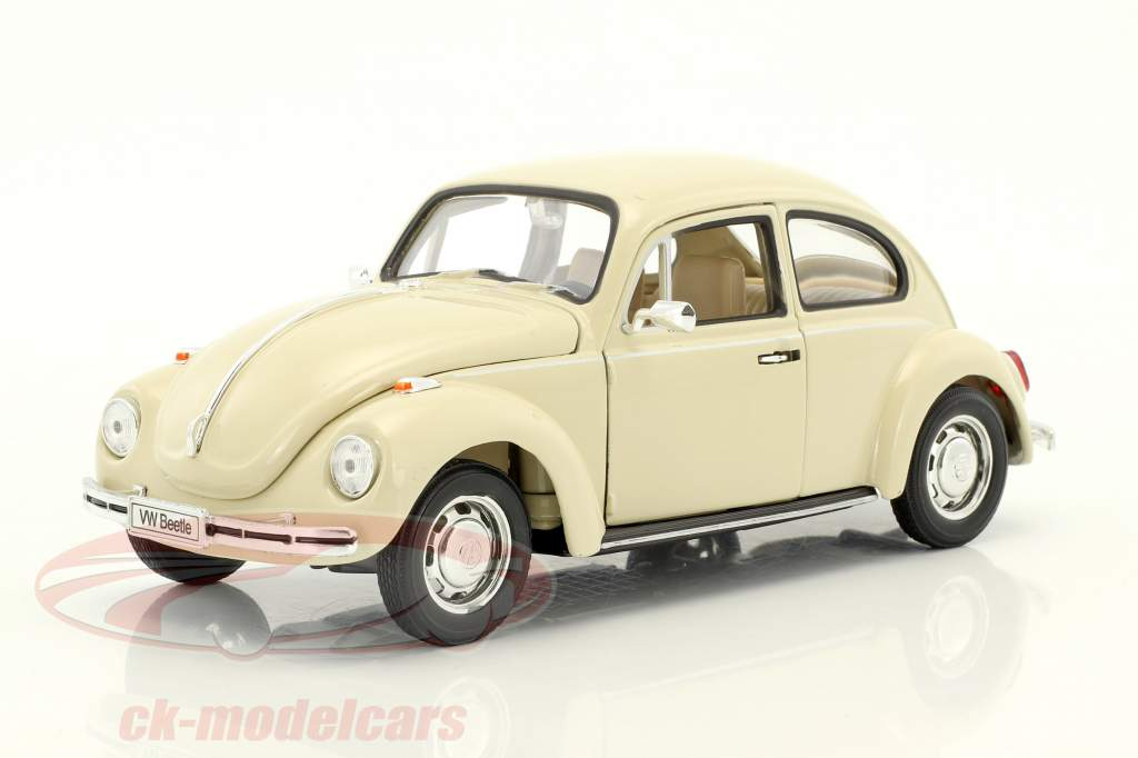 Volkswagen VW Beetle cream white 1:24 Welly