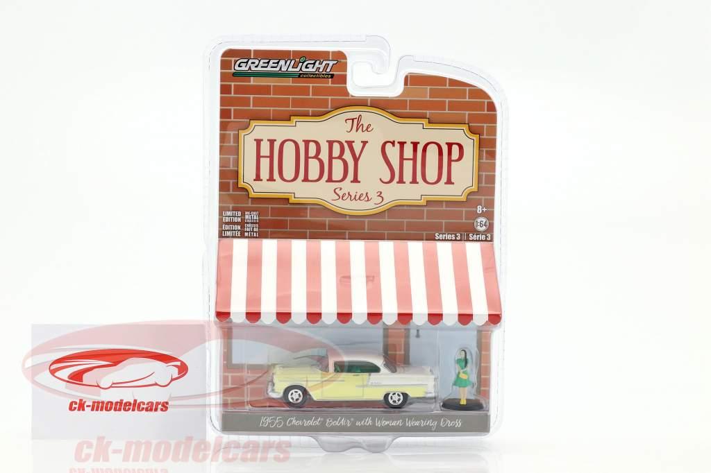Chevrolet Bel Air anno 1955 giallo / bianco con cifra 1:64 Greenlight