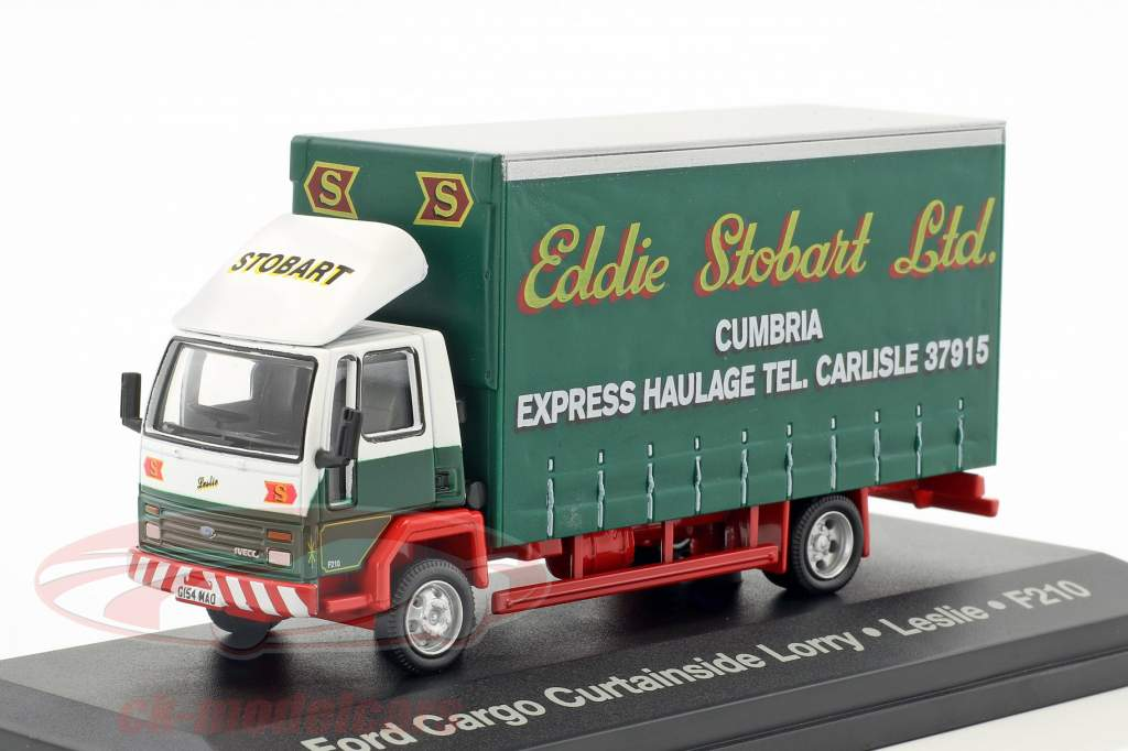 Ford Cargo Curtainside Lorry Leslie F210 Stobart green / white 1:76 Atlas