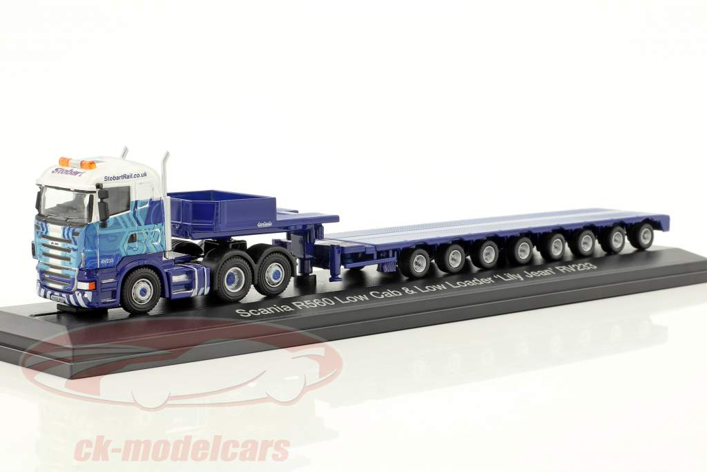 Scania R560 Low Cab & Low Loader Lily Jean RV233 Stobart blu / bianco 1:76 Atlas