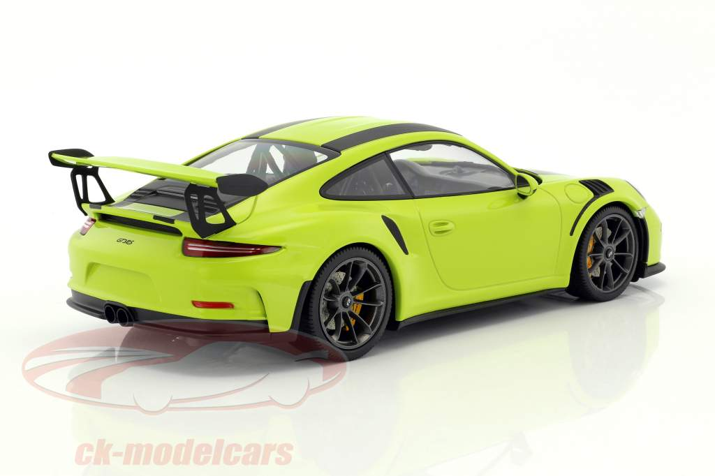 Porsche 911 (991) GT3 RS year 2015 light green with black stripes 1:18 Minichamps
