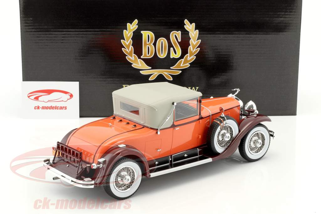 Cadillac 341B Convertible coupe year 1929 orange / brown 1:18 BoS-Models