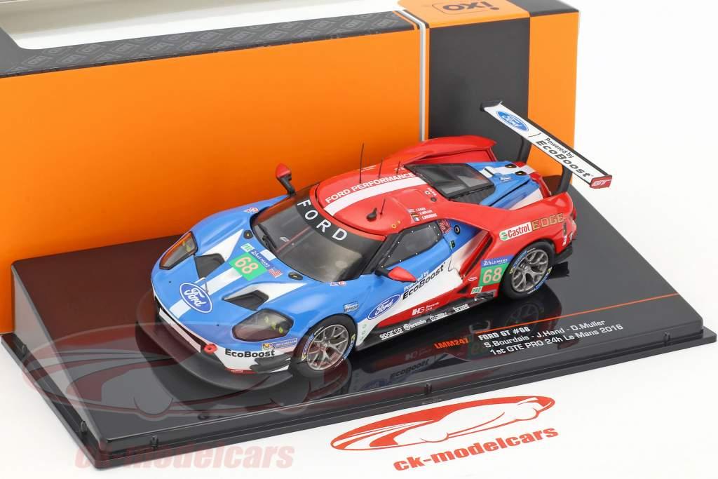 Ford GT #68 vincitore LMGTE Pro classe 24h LeMans 2016 Hand, Müller, Bourdais 1:43 Ixo