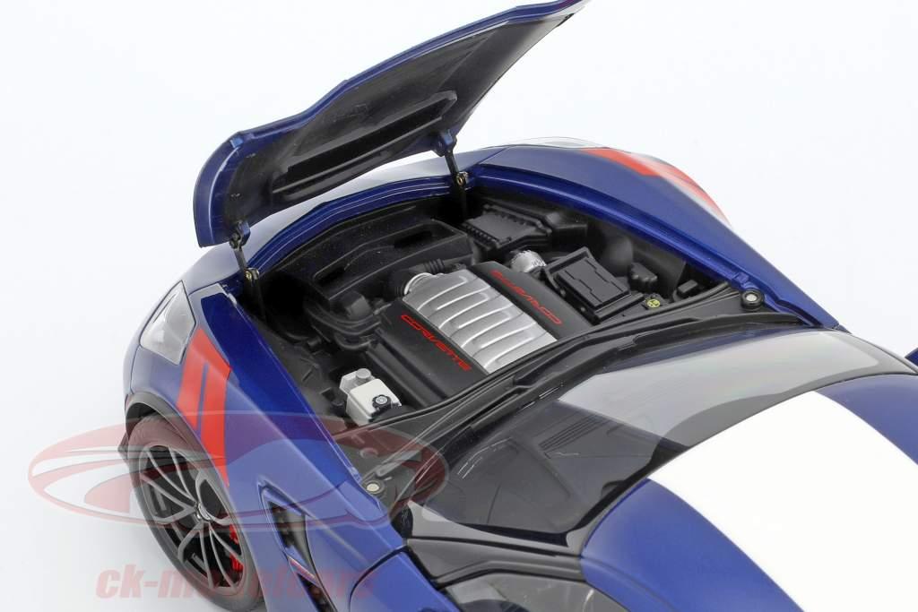 Chevrolet Corvette C7 Grand Sport anno di costruzione 2017 blu con bianco strisce 1:18 AUTOart