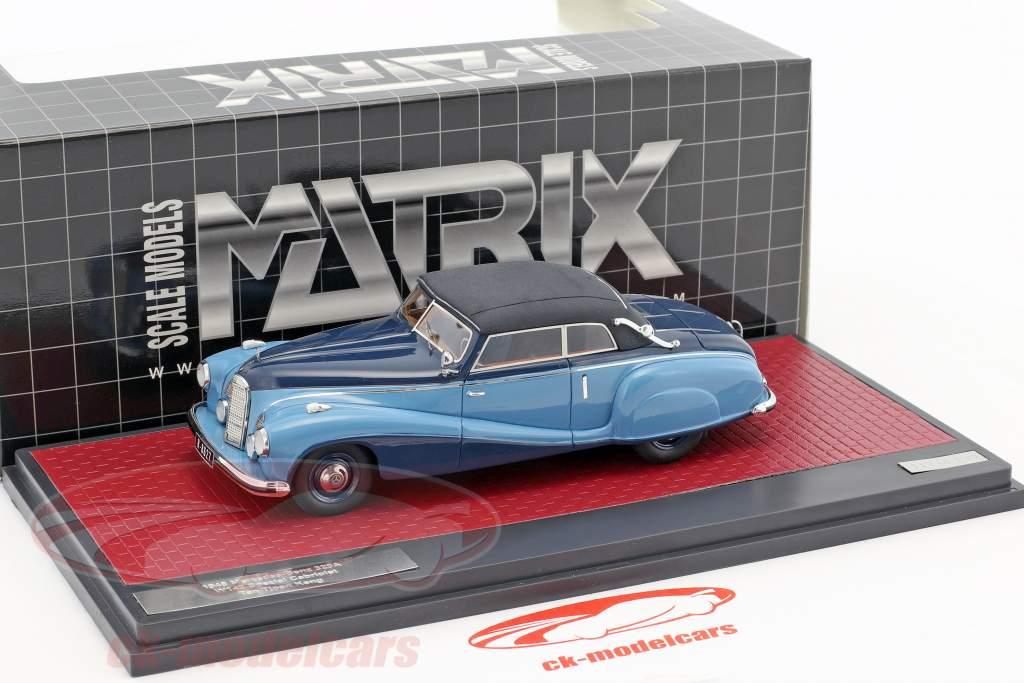 Mercedes-Benz 320A (W142) Spezial Cabriolet Closed année de construction 1948 bleu 1:43 Matrix