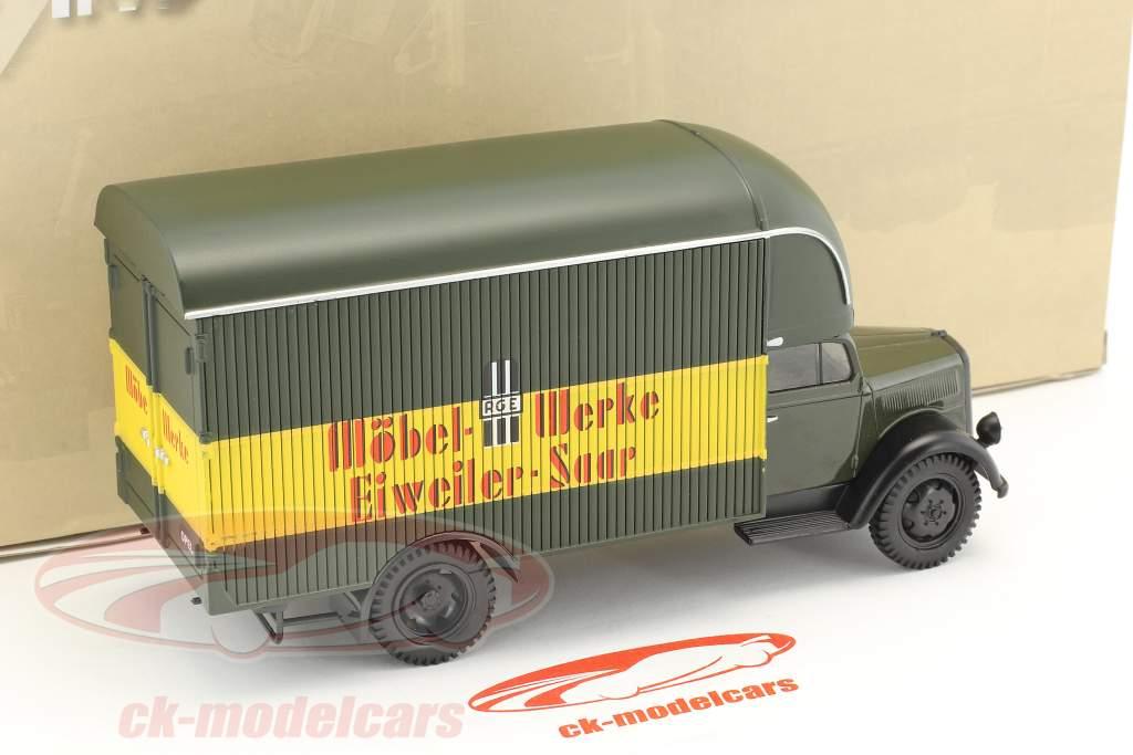 Opel Blitz camion Möbel-Werke Eiweiler-Saar scuro oliva / giallo / rosso in bolla 1:43 DeAgostini