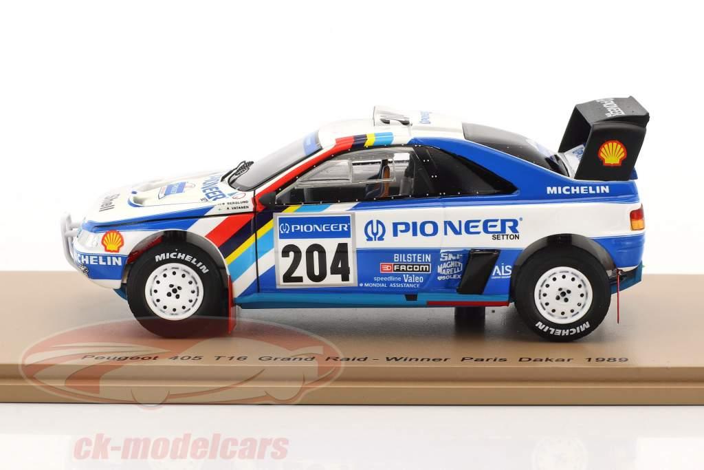 Peugeot 405 T16 Grand Raid #204 gagnant Rallye Paris - Dakar 1989 Vatanen, Berglund 1:43 Spark