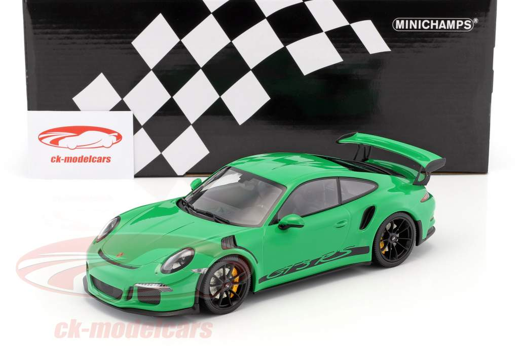 Porsche 911 (991) GT3 RS year 2015 viper green with black rims 1:18 Minichamps