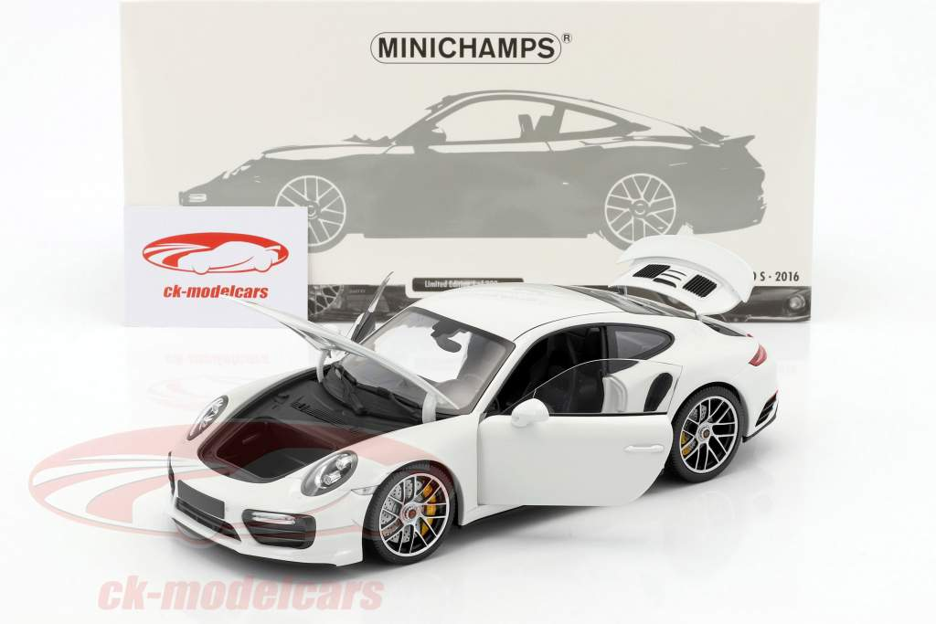 Porsche 911 (991 II) Turbo S year 2016 white 1:18 Minichamps