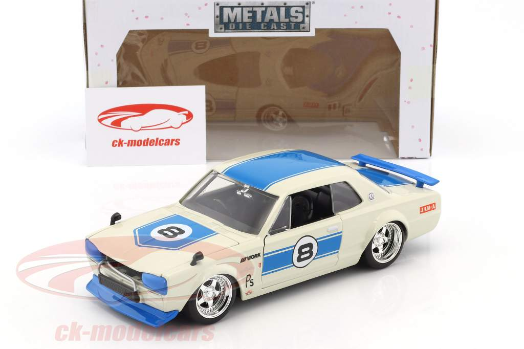 Nissan Skyline GT-R #8 year 1971 white / blue 1:24 Jada Toys