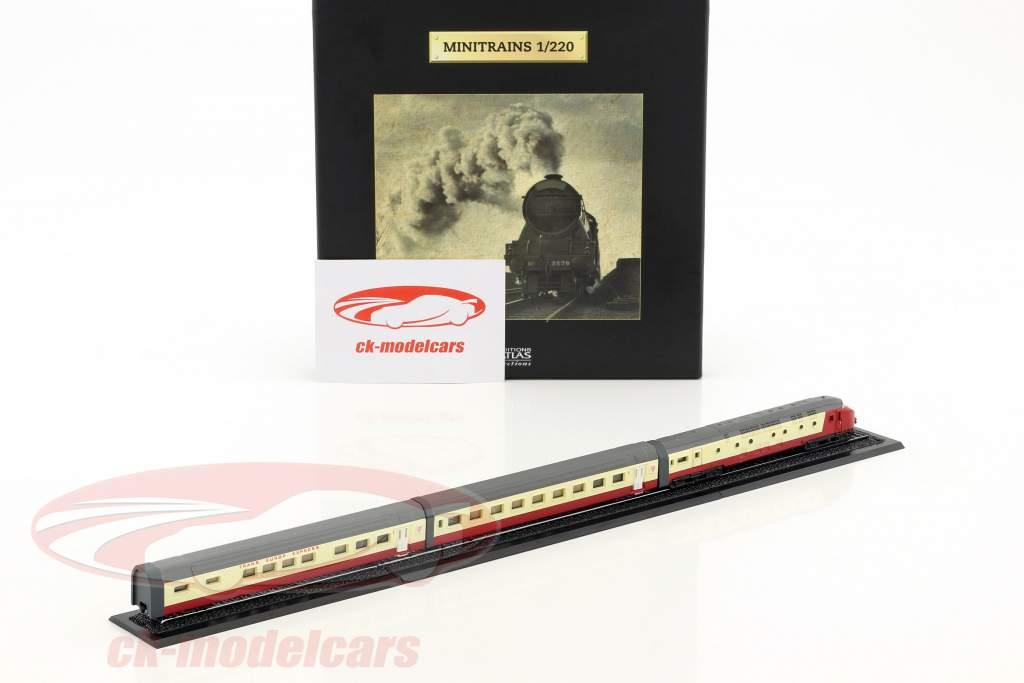 TEE EDELWEISS Zug mit Gleis rot / weiß / silber 1:220 Atlas