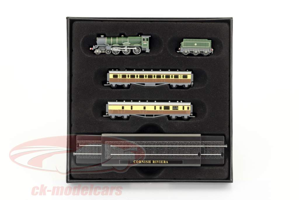 CORNISH RIVIERA treno con pista scuro verde / marrone / bianco 1:220 Atlas