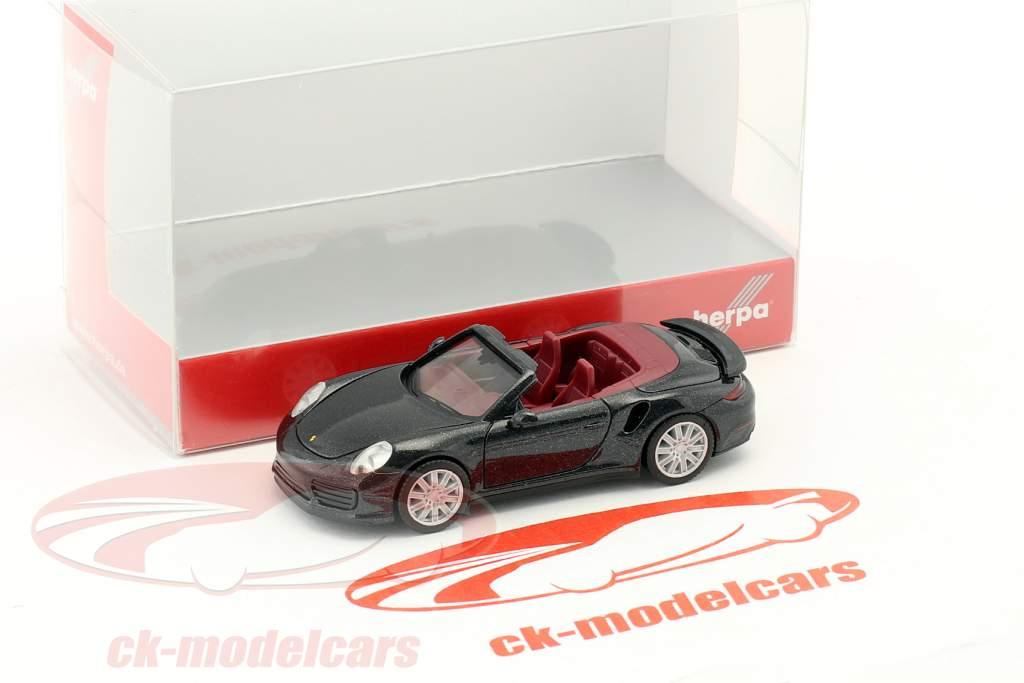 Porsche 911 Turbo cabriolet noir 1:87 Herpa