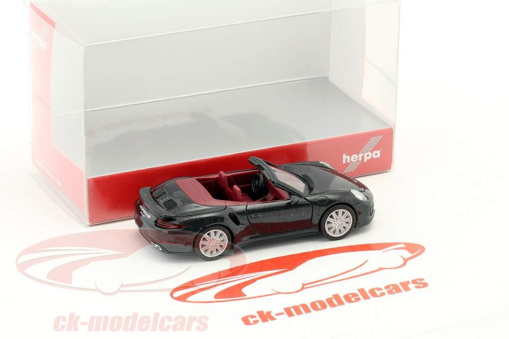 Porsche 911 Turbo cabriolet nero 1:87 Herpa