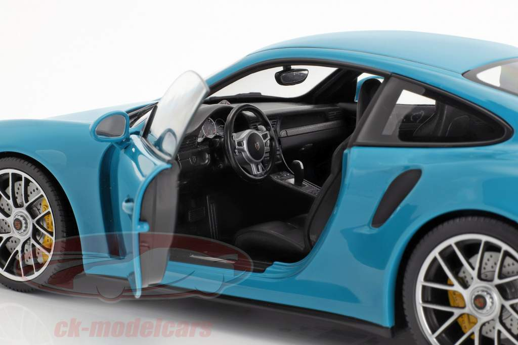 Porsche 911 (991 II) Turbo S year 2016 miami blue 1:18 Minichamps