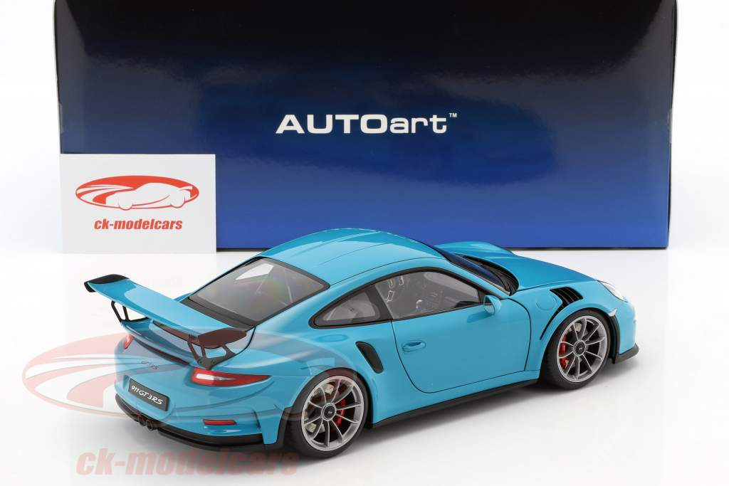 Porsche 911 (991) GT3 RS year 2016 miami blue with dark gray wheels 1:18 AUTOart