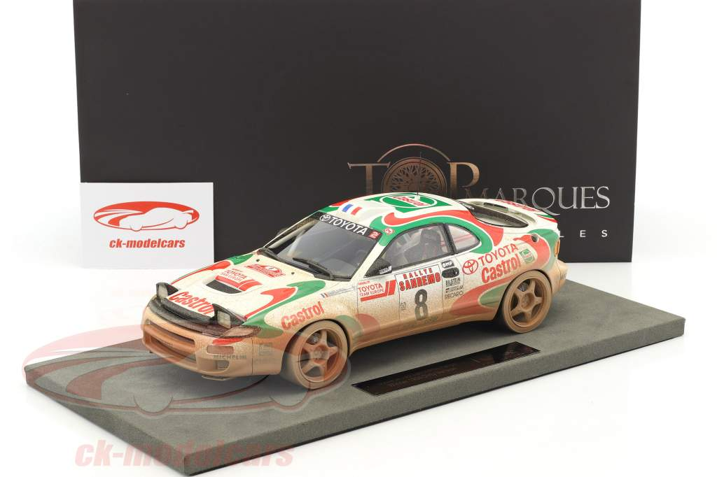 Toyota Celica GT4 Dirty Vision #8 vincitore Rallye San Remo 1994 Auriol, Occelli 1:18 TopMarques