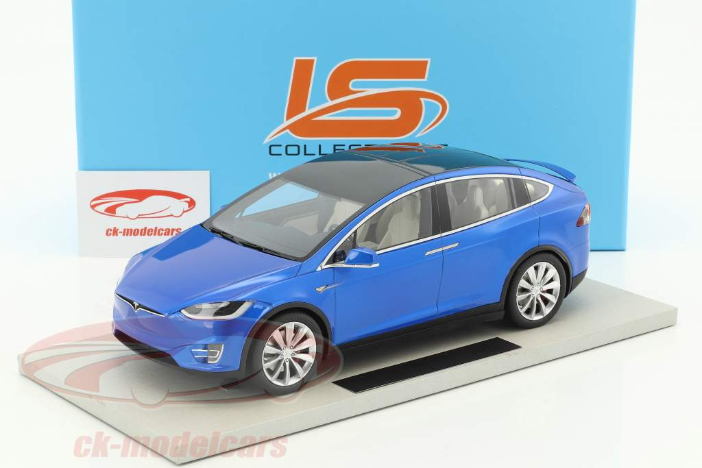 Tesla Model X year 2016 blue metallic 1:18 LS Collectibles