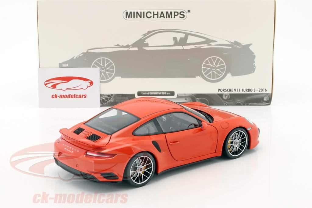 Porsche 911 (991 II) Turbo S année de construction 2016 orange 1:18 Minichamps