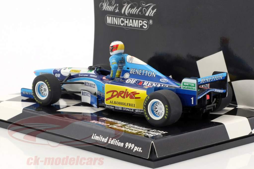Set Figur Michael Schumacher + Benetton B195 #1 Weltmeister Formel 1 1995 1:43 Minichamps