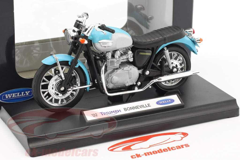 Triumph Bonneville année de construction 2002 bleu / argent / noir 1:18 Welly