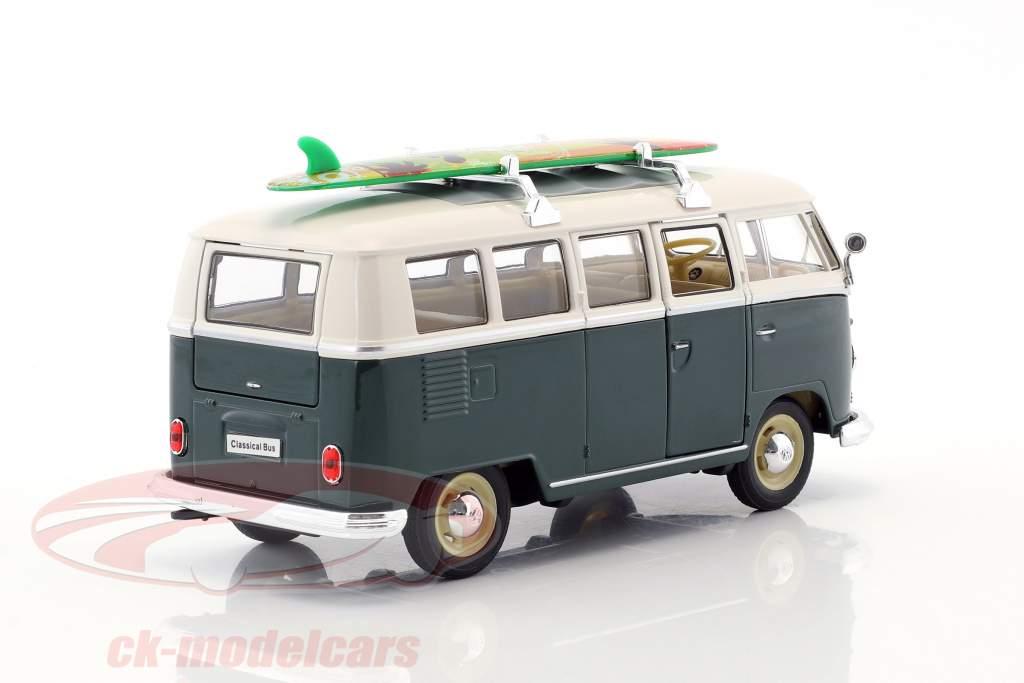 Volkswagen VW T1 autobus con surf anno di costruzione 1963 verde / bianco 1:24 Welly