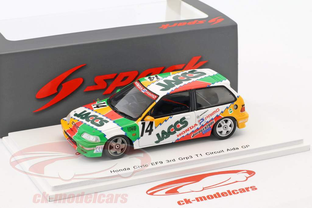 Honda Civic EF9 #14 3 ° Grp3 JTC Aida 1992 Hattori, Kaneishi 1:43 Spark