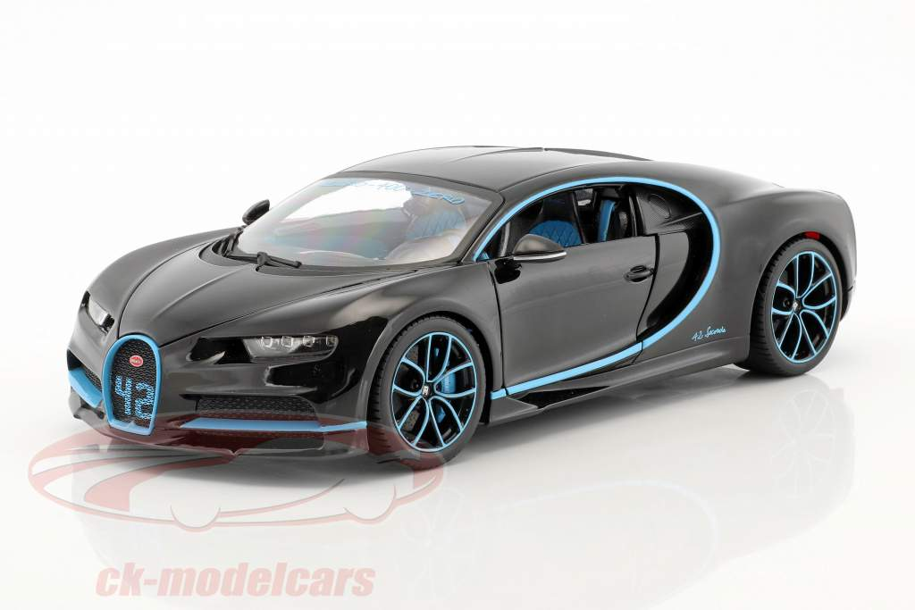 Bugatti Chiron World Record Car #42 J.-P. Montoya black 1:18 Bburago