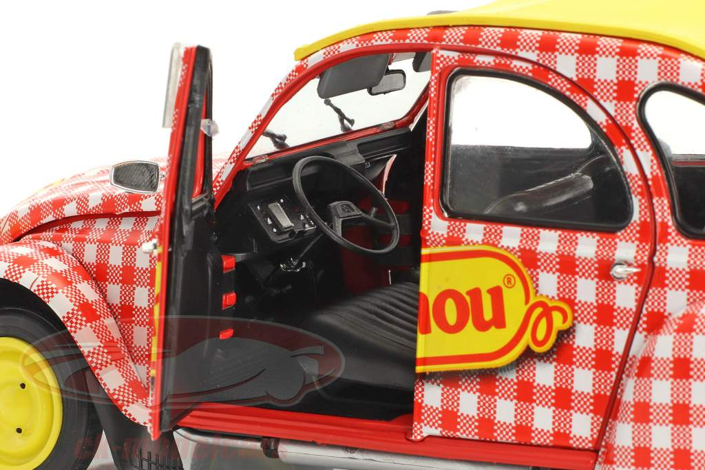 Citroen 2CV6 Cochonou Construction year 1985 red / White / yellow 1:18 Solido
